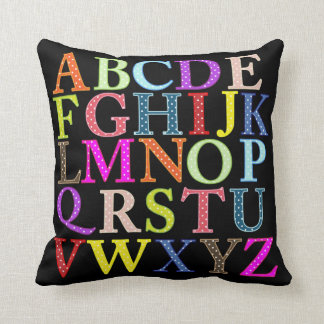 Colorful alphabet and numbers throw pillow