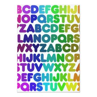 Colorful Alphabet for a TEACHER 13 Cm X 18 Cm Invitation Card