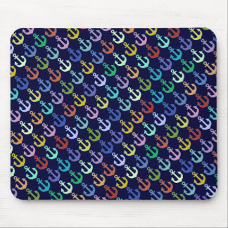 colorful anchor pattern navy design mouse pad