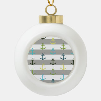 Colorful anchor pattern on stripy background ceramic ball decoration