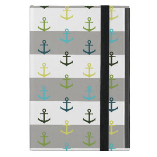 Colorful anchor pattern on stripy background cover for iPad mini