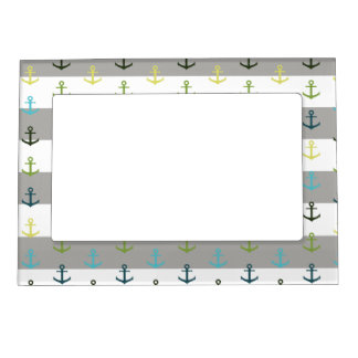 Colorful anchor pattern on stripy background magnetic frame