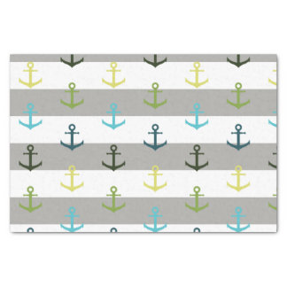 Colorful anchor pattern on stripy background tissue paper