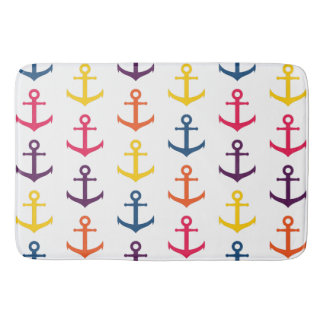 Colorful anchors pattern bath mat