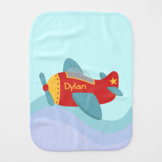 Colorful and Adorable Cartoon Aeroplane Baby Burp Cloths