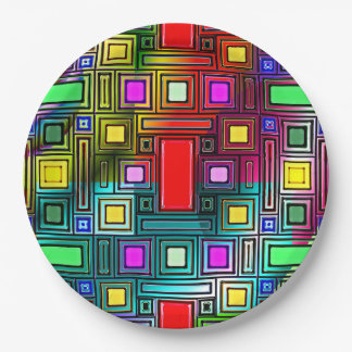 Colorful and cool geometric design on paper plates