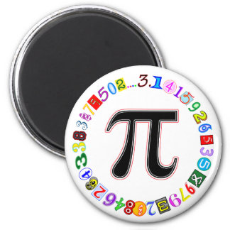 Colorful and Fun Circle of Pi Calculated 6 Cm Round Magnet