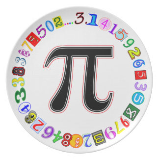 Colorful and Fun Circle of Pi Calculated Dinner Plate