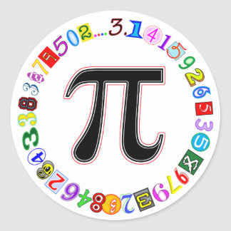 Colorful and Fun Circle of Pi Calculated Round Sticker