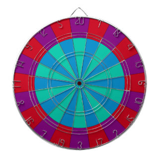 Colorful and Fun Dartboard Teal Red Purple Blue