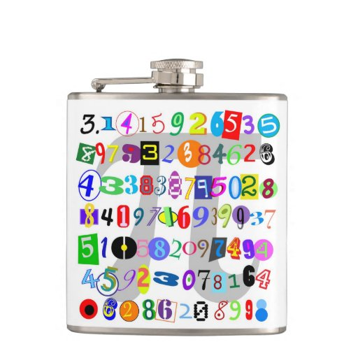 Colorful and Fun Depiction of Pi Hip Flasks
