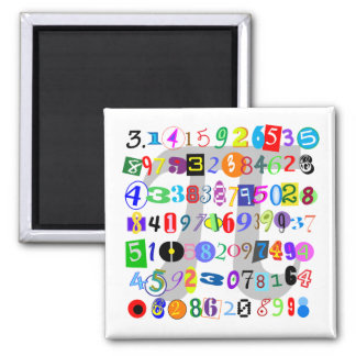 Colorful and Fun Depiction of Pi Square Magnet