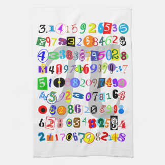 Colorful and Fun Depiction of Pi Hand Towels