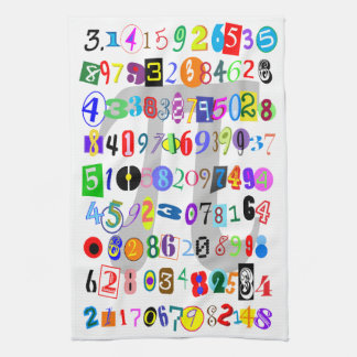 Colorful and Fun Depiction of Pi Tea Towel