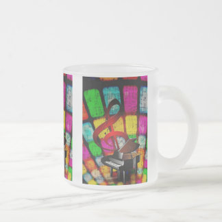 Colorful and Jazzy Treble Clef and Piano Frosted Glass Mug