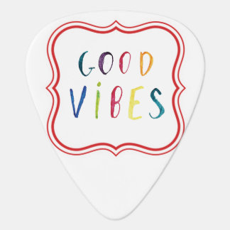 Colorful and Simple Good Vibes Custom Design Guitar Pick