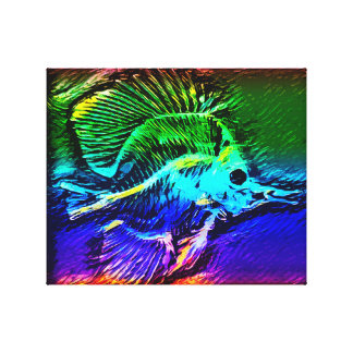 Colorful angelfish skeleton canvas print