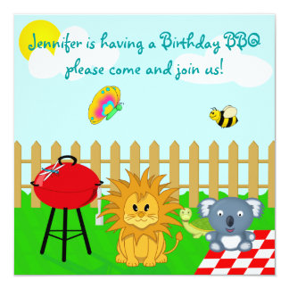 Colorful Animal BBQ Cartoon Children's Party Card