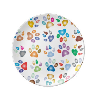 Colorful Animal Paws, Custom Plate Porcelain Plate