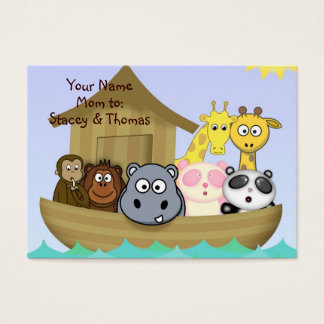 Colorful Animals in Noah's Ark Mommy Calling Card