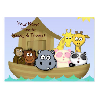Colorful Animals in Noah's Ark Mommy Calling Card Pack Of Chubby Business Cards