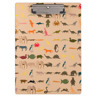 Colorful Animals Pattern #2 Clipboard