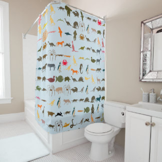 Colorful Animals Pattern #4 Shower Curtain