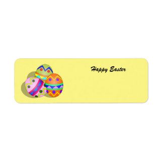Colorful animated Easter Eggs label Return Address Label