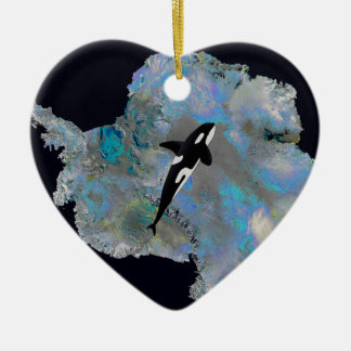 Colorful Antarctica and Orca. Christmas Ornament