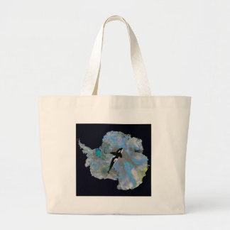 Colorful Antarctica and Orca. Large Tote Bag
