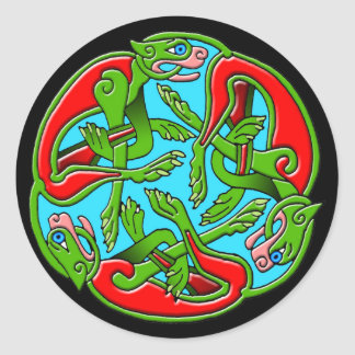 Colorful Antique Celtic Art Tees and Gifts Round Stickers