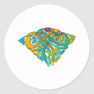 Colorful Antique Style Celtic Art Gifts and Tees Round Sticker
