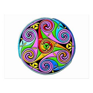 Colorful Antique Style Celtic Art Postcard