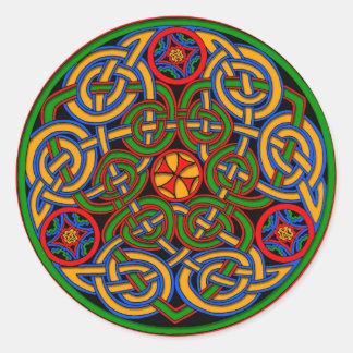 Colorful Antique Style Celtic Art Round Sticker