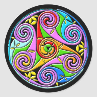 Colorful Antique Style Celtic Art Round Stickers