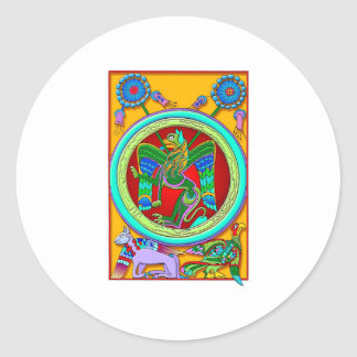 Colorful Antique Style Celtic Art Tees and Gifts Round Stickers