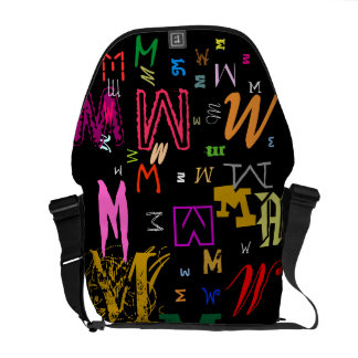Colorful Any Letter Monogram/ Initials Generator Commuter Bag