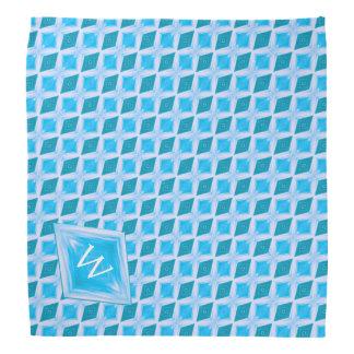 Colorful Aqua Diamond Pattern Custom Monogram Bandana