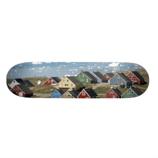 Colorful architecture of the town, Narsaq, Custom Skate Board