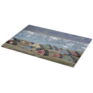 Colorful architecture of the town, Narsaq, Cutting Board