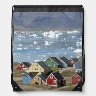 Colorful architecture of the town, Narsaq, Drawstring Bag