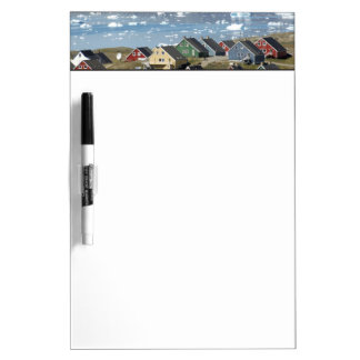 Colorful architecture of the town, Narsaq, Dry Erase Board