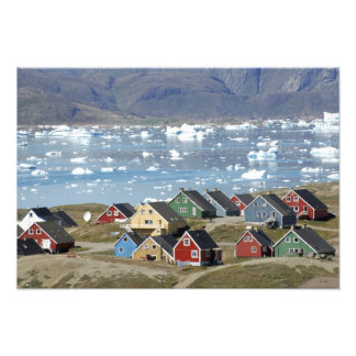 Colorful architecture of the town, Narsaq, Photo Art