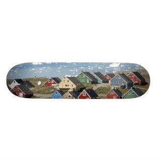 Colorful architecture of the town, Narsaq, Custom Skate Board