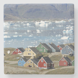 Colorful architecture of the town, Narsaq, Stone Coaster
