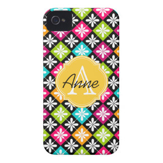 Colorful Argyle Floral Pattern Monogram Name Case-Mate iPhone 4 Cases