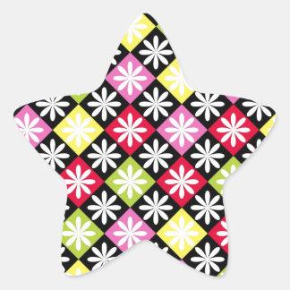 Colorful argyle pattern star sticker