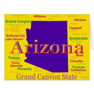 Colorful Arizona State Pride Map Cards
