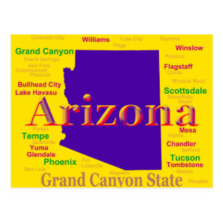 Colorful Arizona State Pride Map Post Cards