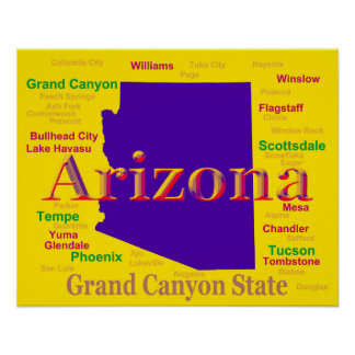 Colorful Arizona State Pride Map Print